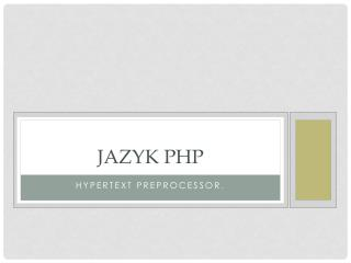 Jazyk PHP