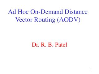 Ad Hoc On-Demand Distance Vector Routing AODV