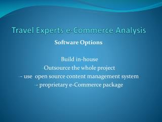 Travel Experts e-Commerce Analysis