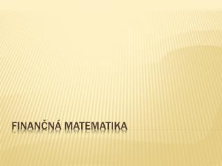 Finančná matematika