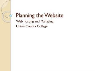 Planning the Website