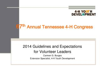 67 th Annual Tennessee 4-H Congress