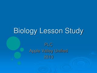 Biology Lesson Study