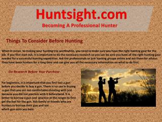 Things To Consider Before Hunting