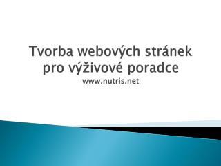 Tvorba webových stránek pro výživové poradce  nutris