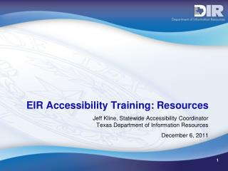 EIR Accessibility Training: Resources