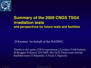 Summary of the 2009 CNGS TSG4 irradiation tests  and perspectives for future tests and facilities
