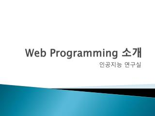 Web Programming  소개