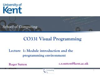 1: Module introduction and the            programming environment