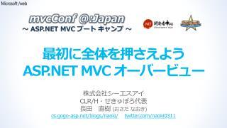 最初に全体を 押さえよう ASP.NET  MVC  オーバービュー