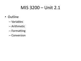 MIS 3200  – Unit 2.1