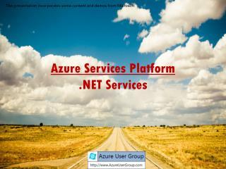 Azure Services Platform .NET Services