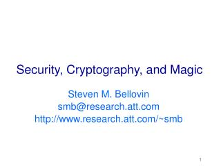 Security, Cryptography, and Magic