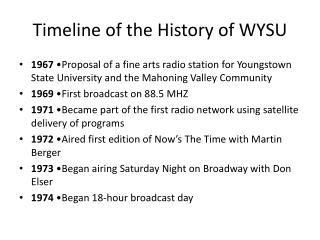 Timeline of the History of WYSU