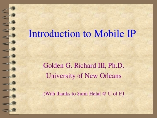Mobile IP: Security Issues