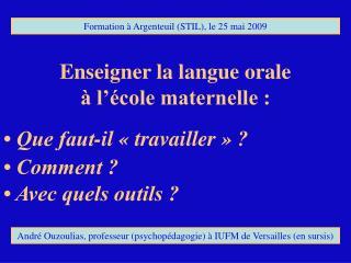 Enseigner la langue orale  à l'école maternelle :
