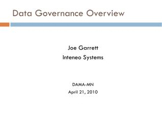 Data Governance Overview