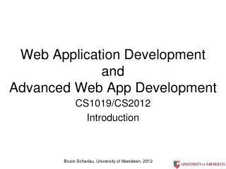Web Application  Development  and  Advanced Web App Development
