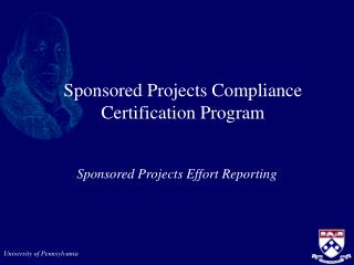 Sponsored Projects Compliance Certification Program