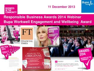 Responsible Business Awards 2014 Webinar Bupa Workwell  Engagement and Wellbeing  Award