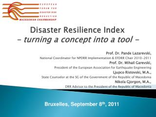 Disaster Resilience Index  - turning a concept into a tool -
