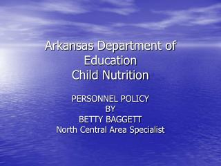 Arkansas Department of Education Child Nutrition
