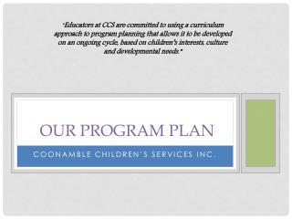 our program plan