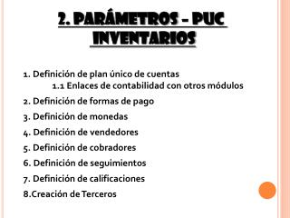 2. Parámetros – puc  inventarios