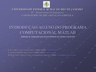 INTRODU��O AO USO DO PROGRAMA COMPUTACIONAL MATLAB