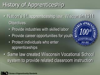 History of Apprenticeship