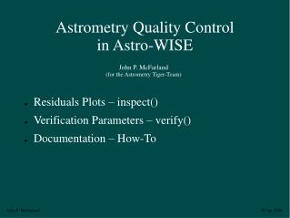 Astrometry Quality Control in Astro-WISE