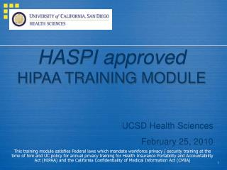 HASPI approved HIPAA TRAINING MODULE