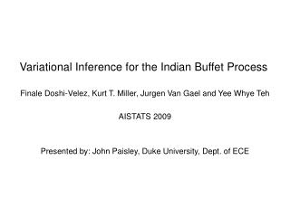 Variational Inference for the Indian Buffet Process