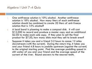 Algebra I Unit 7-4 Quiz