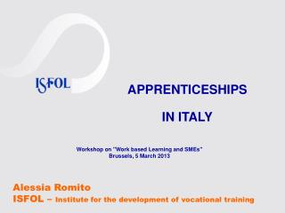 Alessia Romito ISFOL –  Institute for the development of vocational training