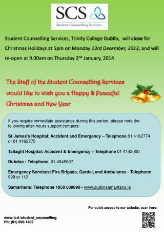 tcd./student_counselling Ph : (01) 896 1407