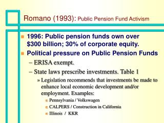 Romano (1993):  Public Pension Fund Activism