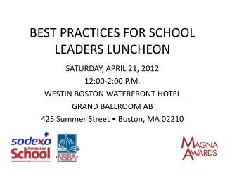 BEST PRACTICES FOR SCHOOL LEADERS LUNCHEON