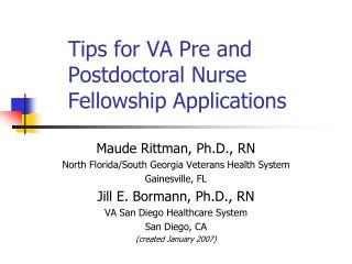 Tips for VA Pre and Postdoctoral Nurse Fellowship Applications