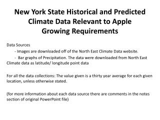 New York State Historical and Predicted Climate Data Relevant to Apple Growing Requirements