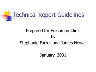Technical Report Guidelines