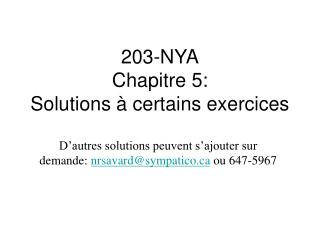 203-NYA Chapitre 5: Solutions à certains exercices
