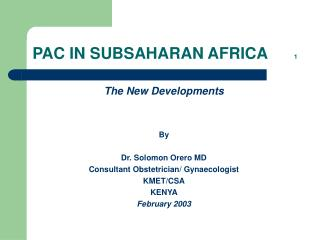 PAC IN SUBSAHARAN AFRICA       1