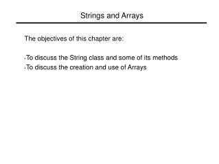 Strings and Arrays