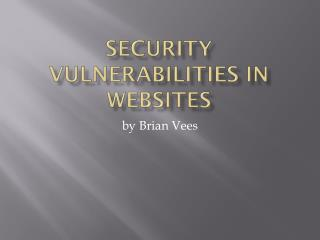 SECURITY VULNERABILITIES IN WEBSITES