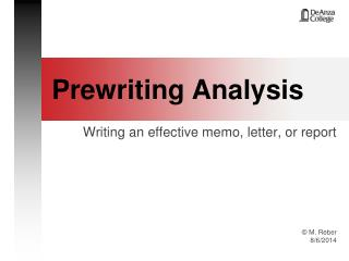 Prewriting Analysis