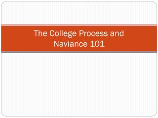 The College Process and  Naviance 101