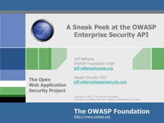 A Sneak Peek at the OWASP Enterprise Security API