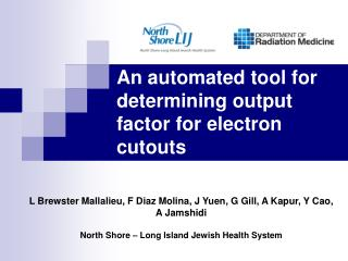 An automated tool for determining output factor for electron cutouts