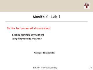 Manifold  -  Lab 1